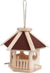 Aubry-Gaspard - mangeoire en pin naturel hexagonale avec toit en s - Mangeoire À Oiseaux