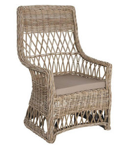 Aubry-Gaspard - fauteuil gris avec coussin en poelet 63x65x100cm - Fauteuil De Jardin