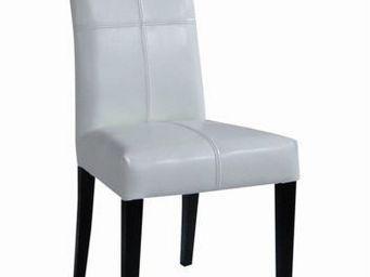 MEUBLES ZAGO - chaise bycast blanc chicago - lot de 2 - Chaise