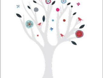 LILI POUCE - arbre eco � oiseaux confettis sticker arbre et fri - Sticker D�cor Adh�sif Enfant