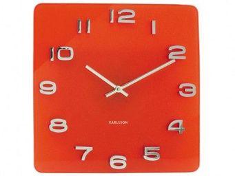 Karlsson Clocks - karlsson - horloge carré vintage - karlsson - roug - Horloge Murale