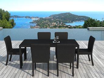 Delorm design - salon de jardin 6 éléments en résine tressée noire - Table De Jardin