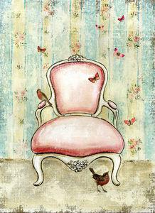 APOLONY - le fauteuil rose - Tableau Décoratif