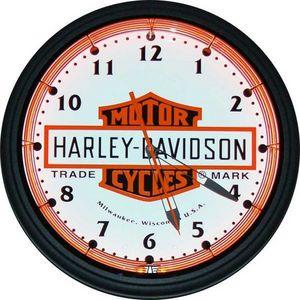 US Connection - horloge néon harley bar & shield - Horloge Murale