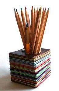 BANDIT MANCHOT - millefeuille de cuirs - Pot À Crayons