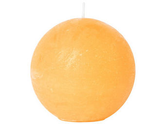 Athezza - bougie boule orange d8cm - Bougie Ronde