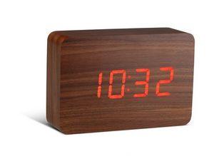Gingko - brick walnut click clock / red led - Réveil Matin