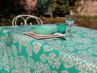 FLEUR DE SOLEIL - nappe enduite hortensia turquoise 160x160 - Nappe Carrée