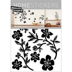 Nouvelles Images - sticker mural guirlande noire fleurs - Sticker