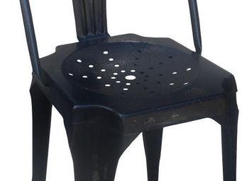 Antic Line Creations - chaise vintage en métal noir - Chaise
