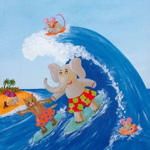 FRANÇOISE LEBLOND - toile sur châssis la vague de françoise leblond 40 - Tableau Décoratif Enfant
