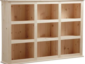 BARCLER - bibliothèque en bois brut 9 cases 130x90x26cm - Bibliothèque Ouverte