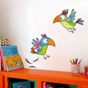SERIE GOLO - les perroquets - Sticker Décor Adhésif Enfant