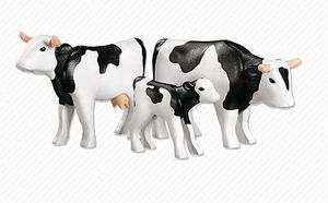 PLAYMOBIL - 2 vaches avec veau noirs / blancs - Animaux De La Ferme (jouets)