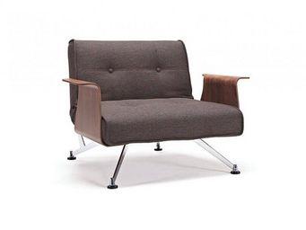 INNOVATION - fauteuil design clubber accoudoirs marron converti - Fauteuil Bas