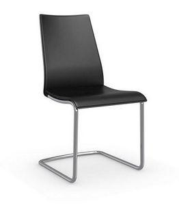 Calligaris - chaise swing en cuir économique noir et acier chro - Chaise