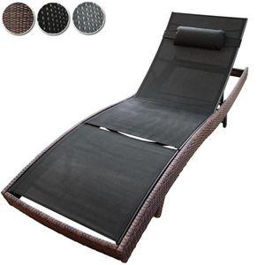 WHITE LABEL - bain de soleil chaise longue transat marron - Bain De Soleil