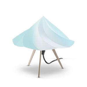 Moustache - chantilly - lampe à poser bois & bleu h28cm | lamp - Lampe À Poser