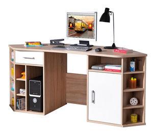 WHITE LABEL - bureau d?angle avec rangement coloris sonoma chêne - Bureau