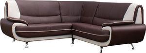 WHITE LABEL - canapé d?angle design en simili cuir brun et blanc - Canapé Modulable