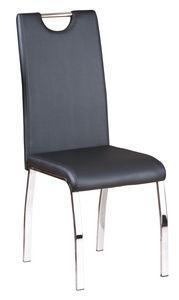 COMFORIUM - lot de 2 chaises en simili cuir noir et métal chro - Chaise