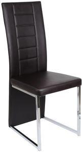 COMFORIUM - chaise de table simili cuir coloris brun - Chaise