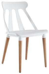 COMFORIUM - chaise design coloris blanc et bois - Chaise