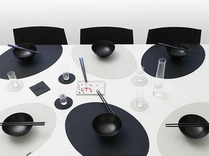 CHILEWICH - onedge minibasketweave black & sandstone - Set De Table