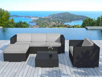 Delorm design - ensemble jardin 6 pièces en résine noire avec cous - Salon De Jardin
