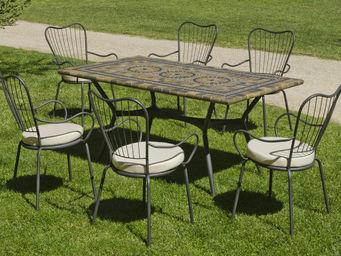 HEVEA - table de jardin 1,6m et fauteuils edna - Salle À Manger De Jardin