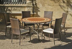 HEVEA - table ronde mosaïque et fauteuils lorny bergamo - Salon De Jardin