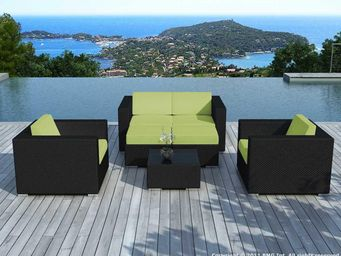 Delorm design - salon de jardin 4 à 6 places en résine noire avec - Salon De Jardin
