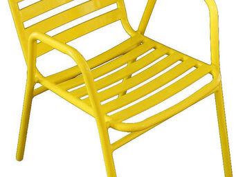 WILSA GARDEN - fauteuil de jardin à lattes retro jaune - Fauteuil De Jardin