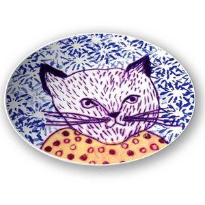 la Magie dans l'Image - assiette mon petit chat fond bleu - Assiette De Présentation
