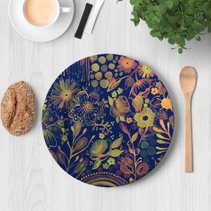 la Magie dans l'Image - assiette végétal bleu - Assiette De Présentation