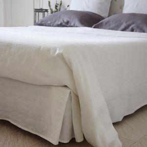 MAISON D'ETE - cache sommier lin lavé blanc - Cache Sommier