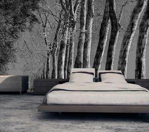 IN CREATION - forêt au crayon noir sur gris - Papier Peint Panoramique