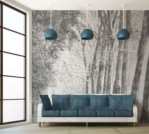 IN CREATION - forêt au crayon gris - Papier Peint Panoramique