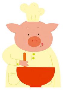 DECOLOOPIO - cochon cuisto - Sticker Décor Adhésif Enfant