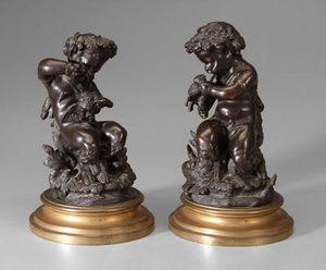 Jacque's Antiques - mischievous satyrs  - Statuette