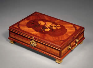 F P FINE ART - ormolu mounted marquetry document box - Boite À Courrier
