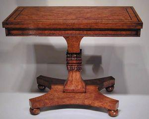 BAGGOTT CHURCH STREET - regency burr ash & ebony strung games table - Table De Jeux