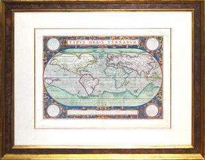 ARADER GALLERIES - mappemonde de abraham ortelius, anvers - Carte Géographique