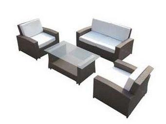 UsiRama.com - ecochic meuble salon en résine tressée marron - Canapé De Jardin