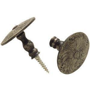 FERRURES ET PATINES - bouton de meuble en fer grave - fait main - style - Bouton De Meuble Et De Placard