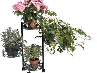 Jany - etag�re 4 plantes en acier avec roulettes 85x67cm - Porte Plantes