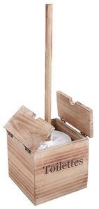 Aubry-Gaspard - brosse de toilettes d�co en bois et c�ramique - Balayette Wc