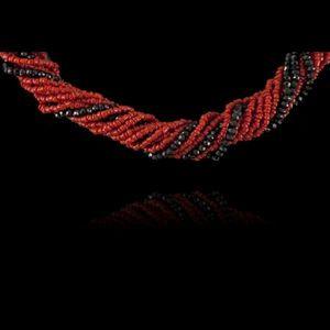 Expertissim - collier torsadé perles de corail et de spinelle no - Collier
