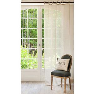 Maisons du monde - rideau lin couleur lin - Rideaux À Lacettes