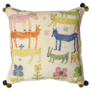 Sugarboo Designs - pillow collection - stacked animals with poms - Coussin Enfant